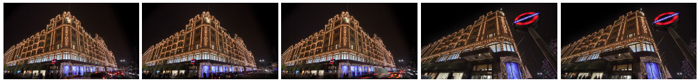 Harrods at night filmstrip