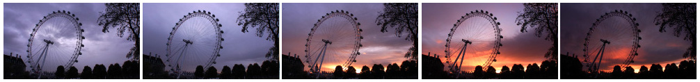 London Eye dramatic sunset filmstrip