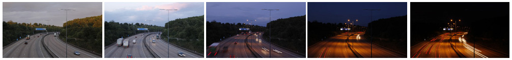 London motorway sunset filmstrip
