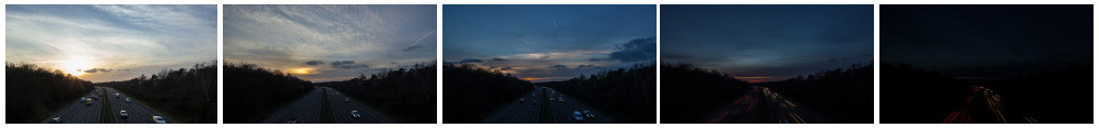 Sunset time lapse over London motorway filmstrip