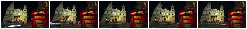 St Pauls Cathedral at night with phone box time lapse filmstrip