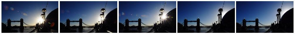 Tower Bridge silhouette time lapse filmstrip
