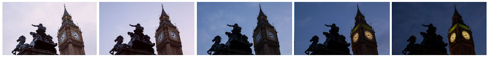 Big Ben and Boadicea Statue at sunset no zoom filmstrip