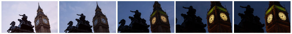 Big Ben and Boadicea Statue at sunset with zoom filmstrip