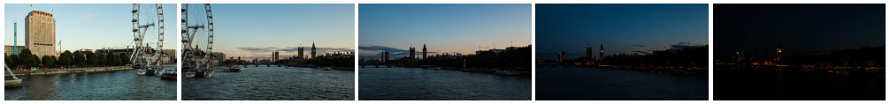 London Eye and Houses of Parliament sunset pan static filmstrip