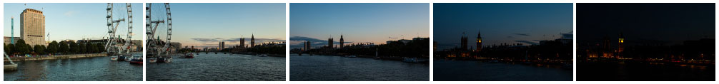London Eye and Houses of Parliament sunset pan zoom - EDITORIAL USE ONLY filmstrip