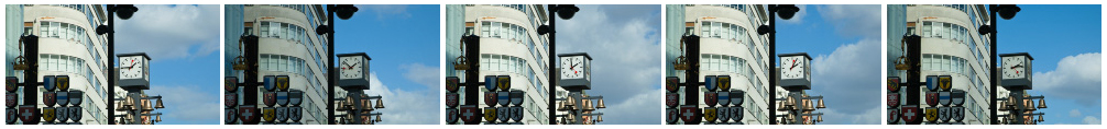 Swiss clock and bells time lapse in Leicester Square, London filmstrip