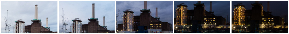 Battersea Power Station construction tilt down filmstrip