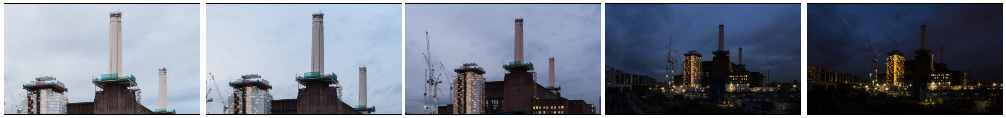 Battersea PS constructions site sunset zoom out filmstrip