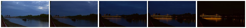 Albert Bridge sunset zoom filmstrip